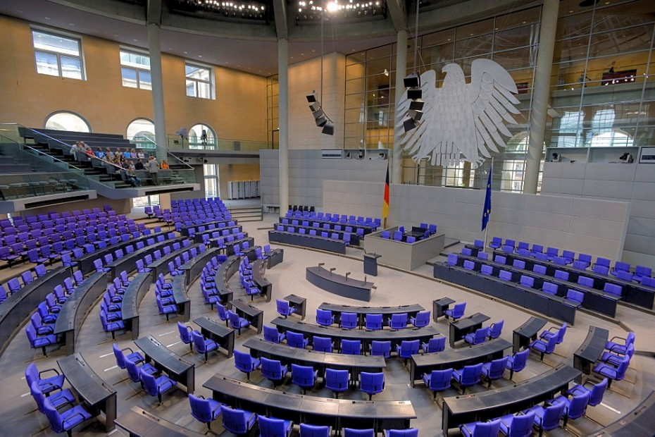 Empty plenary hall with a small group of visitors, German Bundestag parliament, Berlin, Germany, Europe