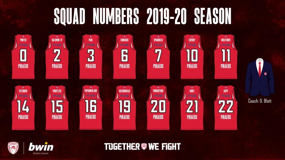 Μπάσκετ: Τα νούμερα των παιχτών του Ολυμπιακού στη νέα σεζόν