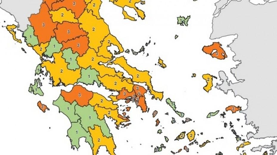 Έτσι διαμορφώνεται ο χάρτης κορονοϊού από σήμερα