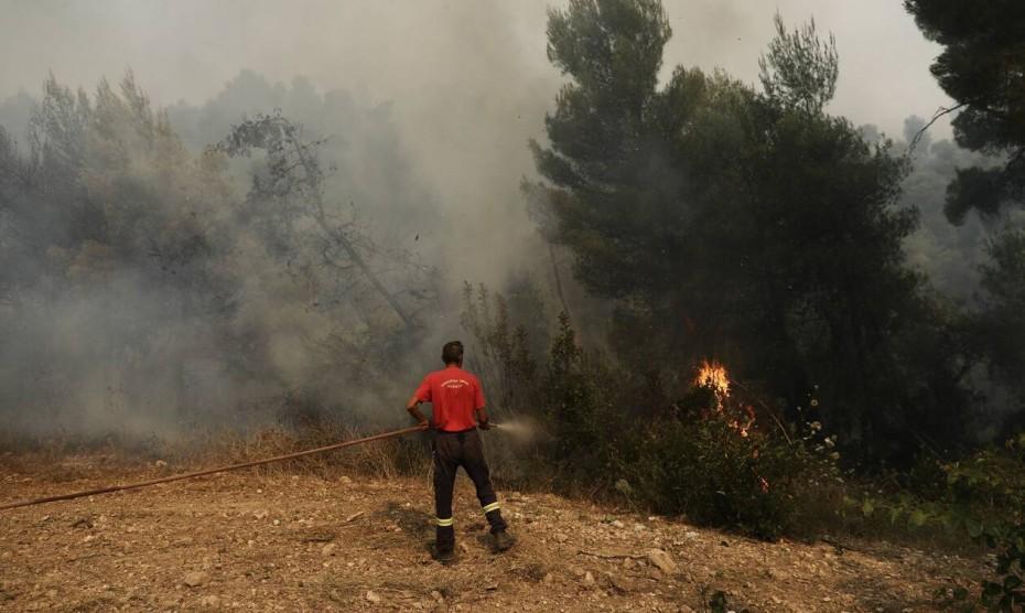 Υπό μερικό έλεγχο η φωτιά στην Κερατέα
